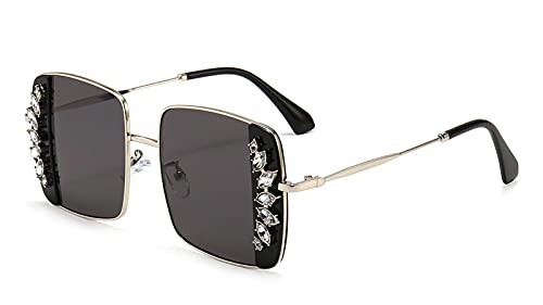 Gafas De Sol Cuadradas De Protección UV400 para Mujeres, Espumosos Marco Brillante Damas Gafas Black