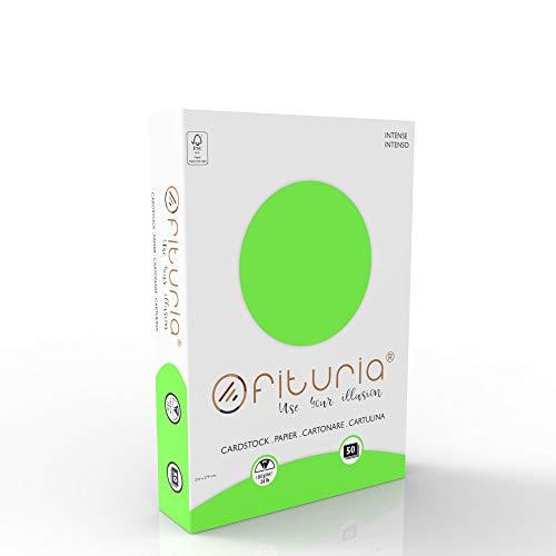 OFITURIA Pack 50 Cartulinas Color Verde Tamaño A4 180g