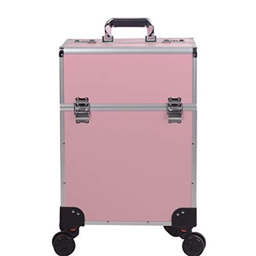 Maquillage Valise Trolley Vanity Train grand chariot avec 4 Universal Wheel coiffeur esthéticienne manucure outils professionnels avec mot de passe Lock,2