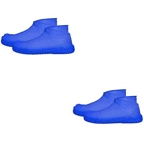 1 paar herbruikbare siliconen schoenen, waterdicht, antislip, gemakkelijk mee te nemen, geschikt voor autowassen, kamperen, bijwonen festivals, vissen, blauw, M