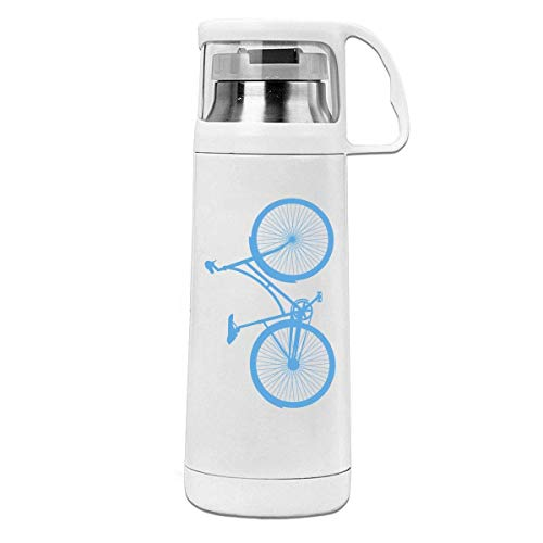 AEMAPE Bicicleta de Engranaje Fijo, Termo Aislado de Acero Inoxidable Impreso, Botella de Agua portátil con asa, Taza de té al vacío, Taza de Viaje