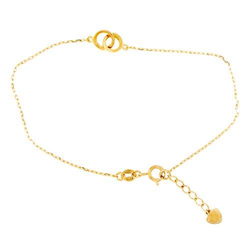 Pulsera con diseño de doble anillos y corazón de oro amarillo (375/1000)