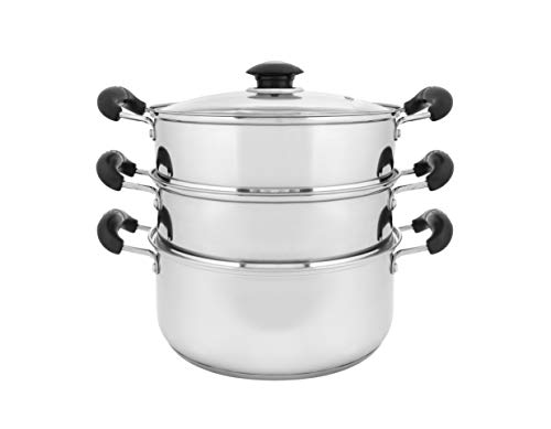CONCORD 10' Stainless Steel 3 Tier Steamer Steaming Pot Cookware 24 CM (Induction Compatible)