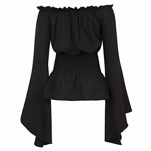 Mittelalter Kleidung Damen Bluse Trompetenärmel Kostüm Gothic T-Shirt Tops elegant sexy Vintage RETR Halloween Cosplay schwarz S