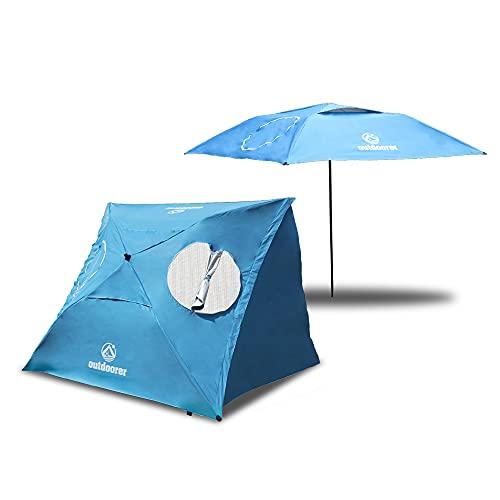 outdoorer Strandschirm Sombrello - Sonnenschirm mit UV Schutz 80, Wind- und Sonnenschutz, Strandmuschel Alternative (eckig, blau)