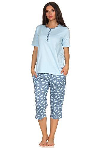 Niedlicher Damen Capri Pyjama Kurzarm Schlafanzug mit süssen Katzen als Design, Farbe:hellblau, Größe2:40/42