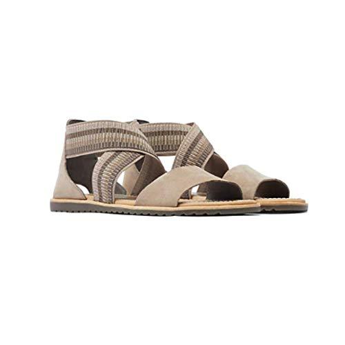 Sorel - Sandalias de yute para mujer con correa al tobillo, color marrón, Marrón (Yute Ceniza Marrón), 37 EU