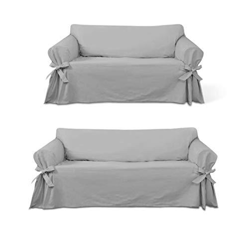 Kit Capa Para Sofá De 2 E 3 Lugares Em Gorgurão Várias Cores Cor:Cinza