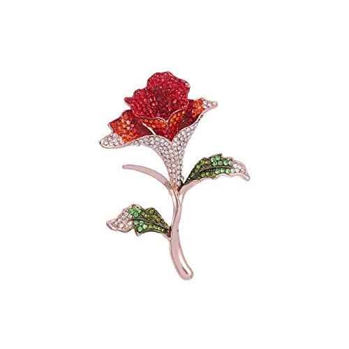 Bleyoum Brooch Summer Red/Purple/Sky Blue Rhinestones Trumpet Flower Brooch Pins