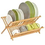 mDesign Escurridor de Platos para la Cocina – Escurreplatos Plegable para secar Vasos y Platos – Secaplatos Compacto de bambú Resistente al Agua – Color bambú