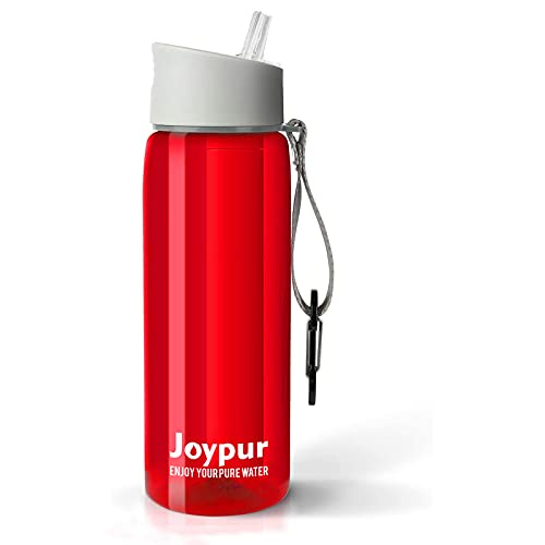 joypur Water Filter Bottle, BPA Free Water Purifier with 4-Stage Intergrated Filter Straw for Camping, Hiking, Travel Abroad, Emergency, Backpacking, Survival with Replaceable Filter