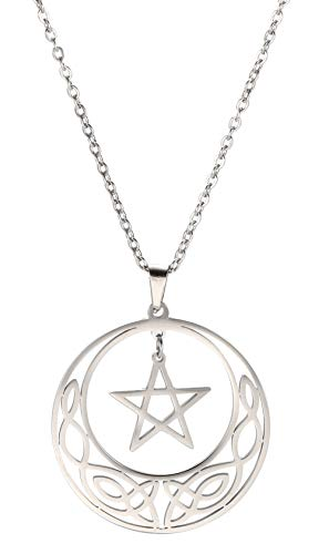 cooltime Stainless Steel Pentacle Pendant Necklace Pentagram Celtic Knot Star Circle Crescent Charm Jewelry (Silver, Sytle 2)