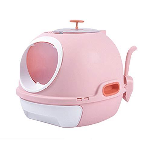 Desodorante para inodoro con capucha a prueba de derrames para gatos y gatos, caja de arena totalmente rodeada con gran espacio desodorante (color rosa).