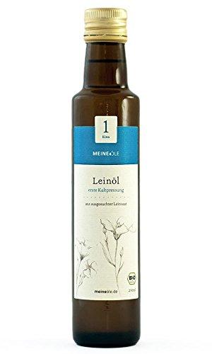 MeineÖle Bio Leinöl 750ml, erste Kaltpressung aus ausgesuchter Leinsaat, immer 24h bis 48h vor dem Versand frisch gepresst, elegante Glasflasche mit sehr praktischem Ausgießer