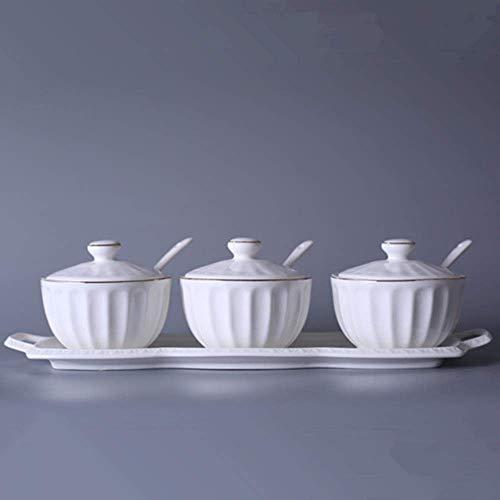 ZFFSC Keuken Kruidenpot met Porseleinen Sets, Nieuwe Eenvoudige Keramische Sauspan Kruidenpot Creative Keukenbenodigdheden De kruidfles
