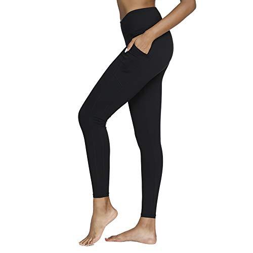 SIMIYA SIMIYA Damen Leggings, Lang Frauen Sporthose, Stretch und Hohe Taille 3/4 Hose, 1 Pack (Schwarz, L)