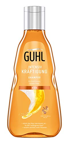 Guhl Intensiv Kräftigung Shampoo - mit Bier - stärkt das Haar und schenkt Volumen - für feines, kraftloses Haar - 250 ml