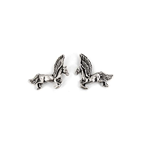 Rougecaramel oorstekers paard met vleugels, van sterling zilver 925, afmetingen: 11 x 9 mm
