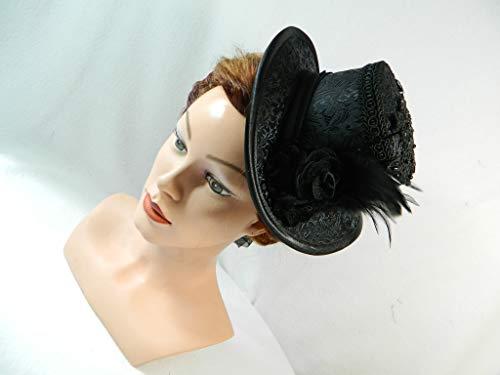 Midi Damen Zylinder schwarz Jacquard Pailletten Applikation Hut Damenhut Anlass-Hut