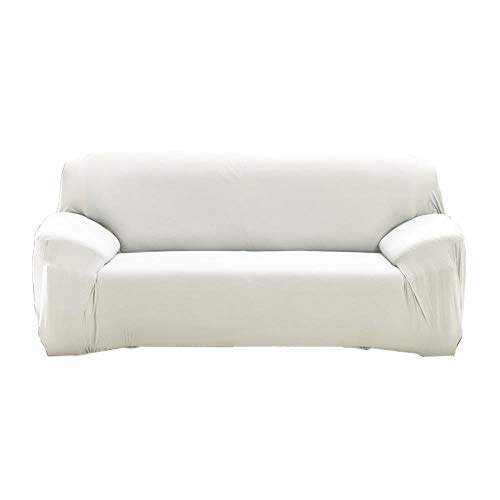 Covers van polyester stoffen bank,Effen kleur stretch bankhoes, 1/2/3/4 zitbank hoekbank handdoek-White_4-seater