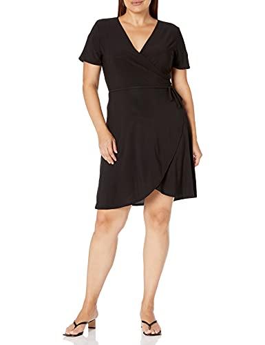 Star Vixen Women's Plus-Size Short Sleeve Ballerina Wrap Dress, Black Solid, 3X
