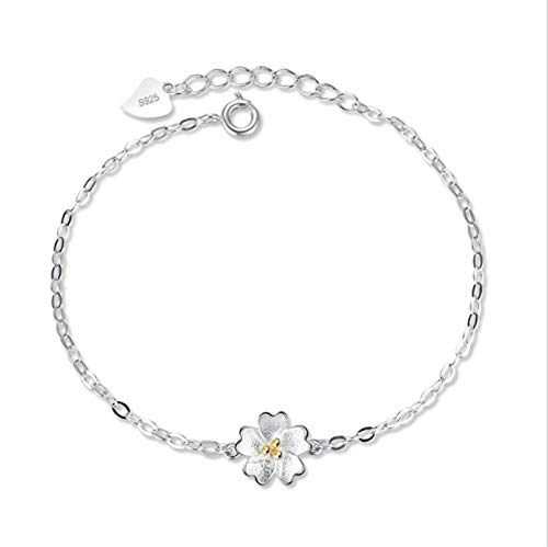 Shangwang - Pulsera de plata para mujer, diseño de flor