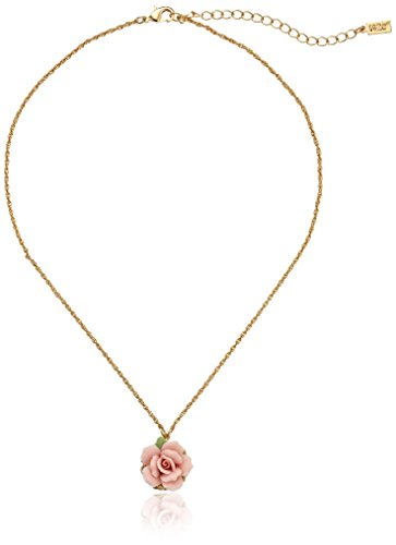 1928 Jewelry Gold-Tone Genuine Pink Porcelain Rose Adjustable Pendant Necklace, 16