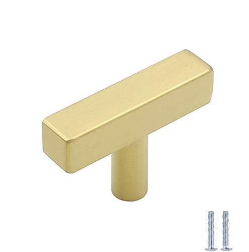 15 Stück Gold Möbelknöpfe Modern Schubladenknöpfe LS1212GD Möbelgriff Moebelknauf Schrankgriffe Edelstahl Gesamtlänge: 50 mm Griff Garderobe Kommode Ziehgriffe