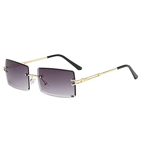 Gafas de sol de vanguardia sin montura de moda, gafas de sol de gradiente multicolor cuadradas, gafas de sol de moda femeninas, C7-gold Frame Gradient Gray,