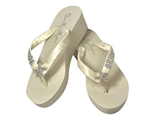 Silver Starfish Bride Glitter Flip Flop Sandals, Ivory 2 Inch Heel