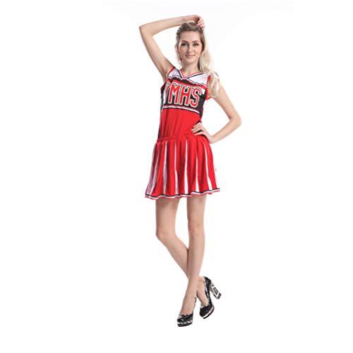 AIZYR Disfraz de porrista de señoras, Partido Atractivo de los líderes de Lujo del Musical de la High School Secundaria de Las señoras Enagua sin Mangas con Pompones,M