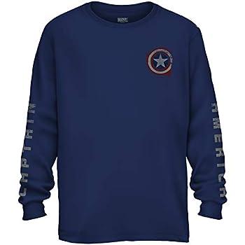 Marvel Avengers Captain America Shield Avengers Long Sleeve Adult T-Shirt Navy,Small