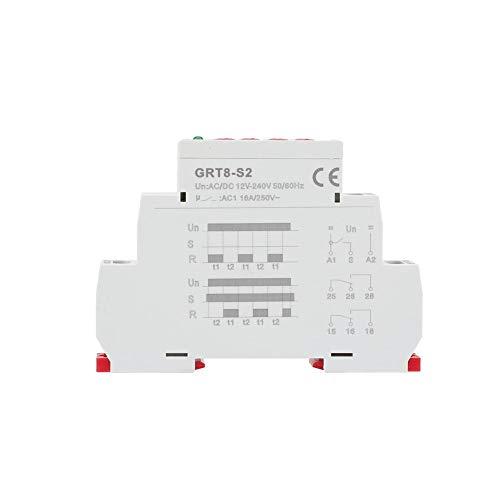 GRT8-S2 AC/DC 12-240V Mini relé de temporizador de ciclo ON/OFF Interruptor de relé de tiempo de retardo de repetición asimétrico para ocasiones de control de retardo cíclico