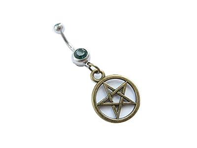 Bronze Pentagram Charm Belly Ring, Wiccan Jewelry, Pentagram Pendant Body Jewelry, Witchcraft Jewelry