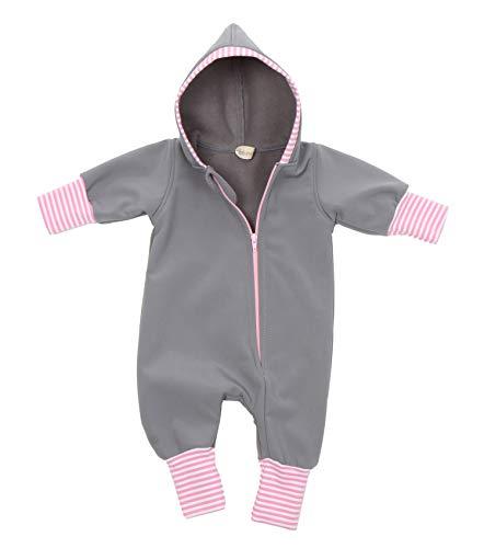 """Lilakind"""" Baby Jungen Mädchen Overall Einteiler mit Kapuze Softshell Grau mit rosa gestreiften Bündchen Gr. 80/86 - Made in Germany"""
