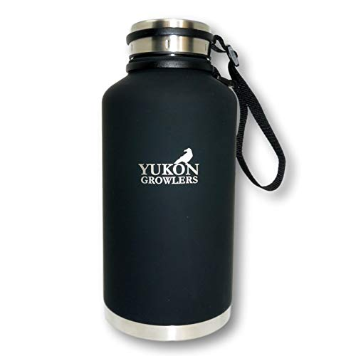Yukon Growlers Insulated Beer Growler – Keeps Beer Cold and Carbonated for 24+ Hours – Keeps Drinks Hot for 12 Hours – Stainless Steel Water Bottle with Improved Leak Proof Lid – 64 oz