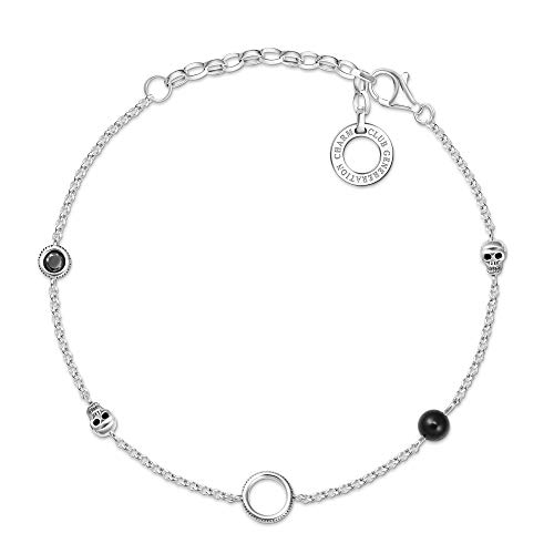 Thomas Sabo Damen-Charm-Armband Farbige Steine 925er Sterlingsilber geschwärzt X0275-641-11-L19v