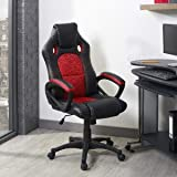 Executive Leather Home Office/Office Adjustable Computer Desk/Gaming Chair Black-Red