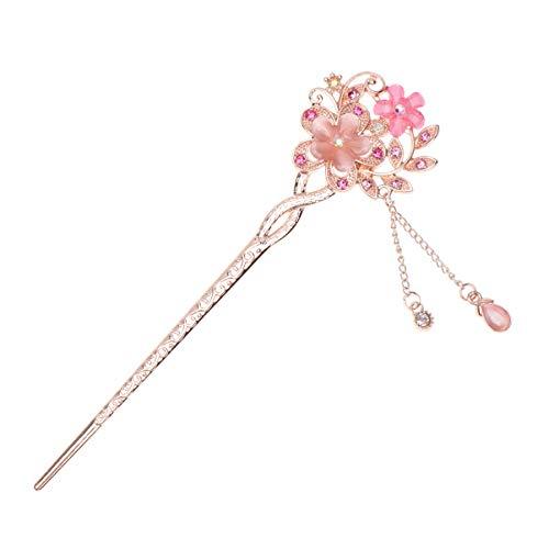 Frcolor Chinesische Haar Sticks Kristall mit Blumen und Strass für Frauen Mädchen (Rosa)