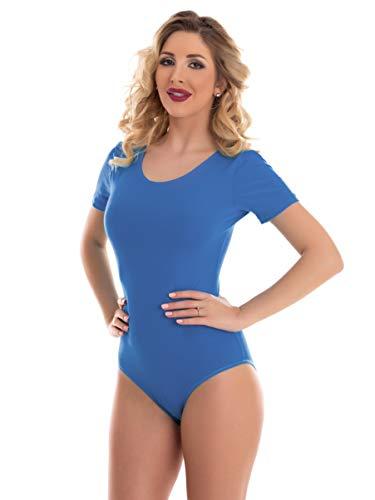 Magi Body de manga corta y cuello redondo de licra para mujer. azul M