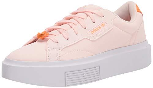 adidas Originals Women's Sleek Super Sneaker, Pink Tint/White/Orange, 7.5