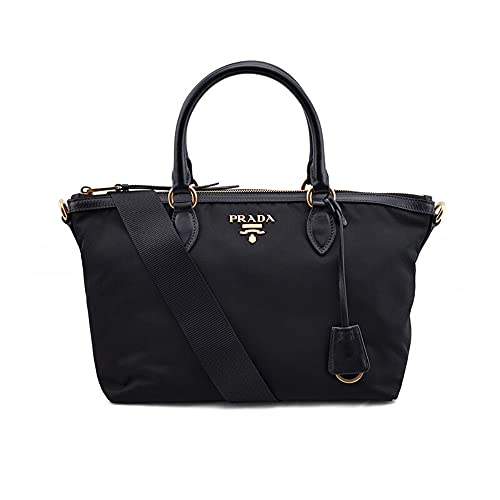 Prada Black Tessuto Nylon Leather Two-Way Satchel Handbag 1BA104