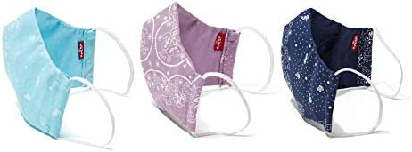 Levi's Re-Usable Bandana Print Reversible Face Mask (Pack of 3), Small, Dress Blues/Orchid Bloom/Blue Topaz