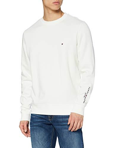 Tommy Hilfiger Tommy Sleeve Logo Sweatshirt Suéter, Ecru, M para Hombre