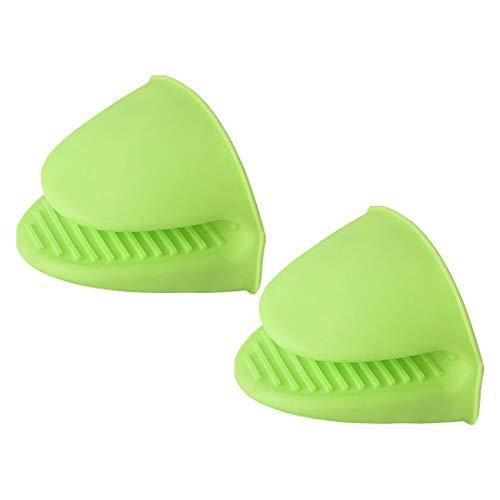 Mini guante de silicona para horno de cocina, resistente al calor, ideal para cocinar y hornear, agarraderas de guantes (verde, talla única)