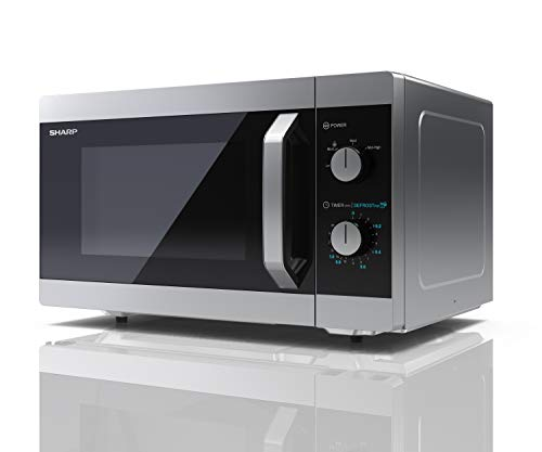 31DK9Wn6WLL - Sharp YC-MS31U-S 900W Solo Microwave Oven with 23 L Capacity, 5 Power Levels & Defrost Function – Silver