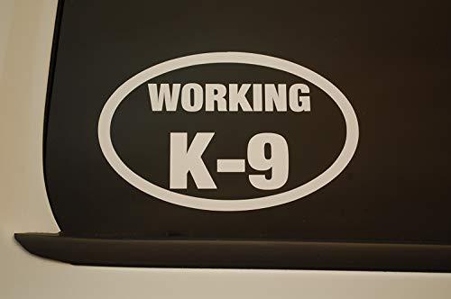 Five Star Graphics Working K-9 Sticker Vinyl Decal K9 CHOOSE COLOR & SIZE!! Service Dog Oval Car Window (V554) (6' X 4', White)