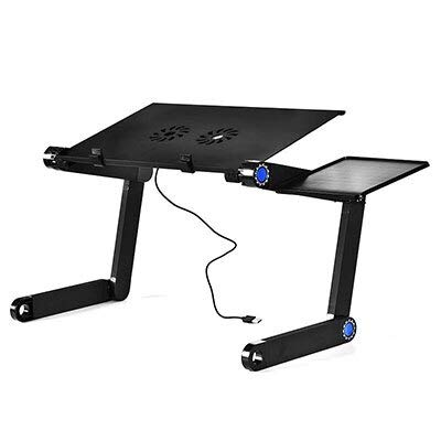 Alloy Laptop Table Simple Portable Folding Computer Desk Adjustable Laptop Desk with Mouse Pad Cooling Fans- Home Office desks - Tablets on Sale prime-HH3468SDBU