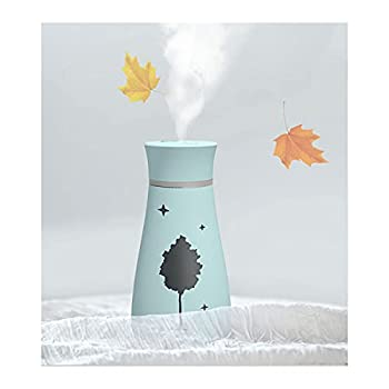 USB Car Diffusers Humidifier,200 Milliliter Mini Portable Humidifiers Air Purifier with 7 Colors LED Night Light,Car Office Room Bedroom with USB light and fan  5V-200ML-Sky Blue Maple Leaf