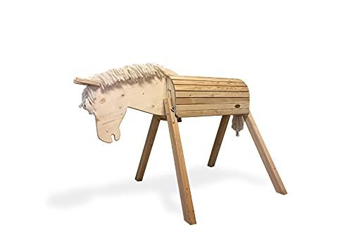 Helga Kreft 50060 Holzpferd für draußen Tamme, Gartenpferd zum Draufsitzen und Reiten, bis 100kg, 90cm Rückenhöhe, beweglicher Kopf, ab 3 Jahre